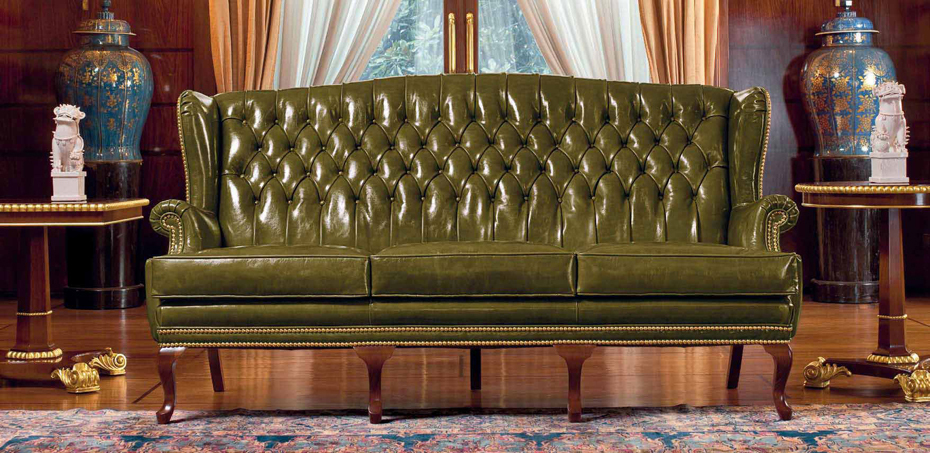 Italian classic leather sofa Stoccolma by Mascheroni